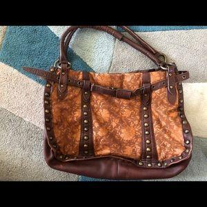 Betsey Johnson leather, lace & studs purse handbag